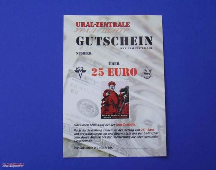 Geschenkgutschein 25 Euro Ural-Zentrale
