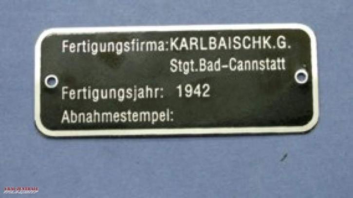 Type plate Wehrmacht BMW Karlbaisch KG