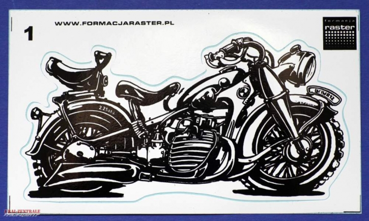 BMW R12 caricature sticker black