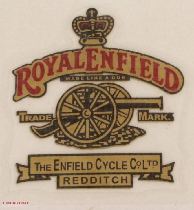 Sticker »Royal Enfield – Made like a Gun« 60 x 60mm