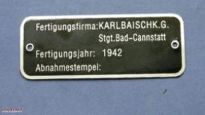 Typenschild Wehrmacht-BMW Karlbaisch KG
