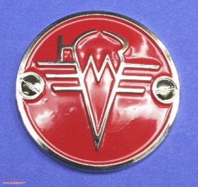 Fuel tank emblem KMZ chrome / red