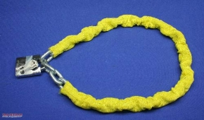 Lock-chain, heavy duty, yellow, with lock