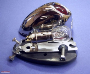 M72 tail light chrome-plated, with brake light and license plate